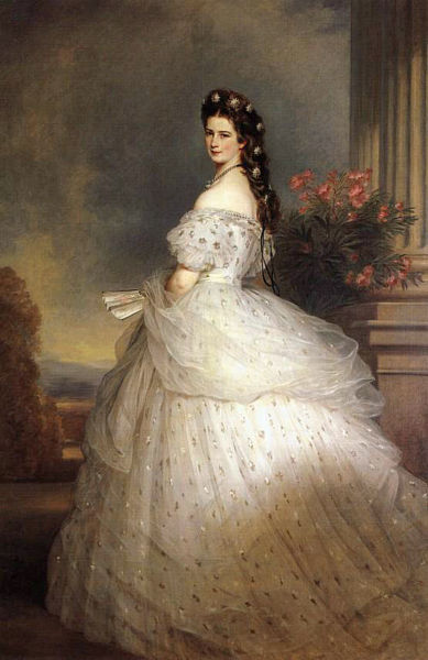 Sissi, Empress of Austria with diamond stars in her hair before 1873 by Franz Xavier Winterhalter