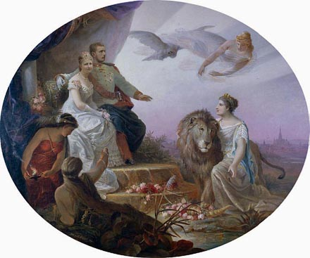 Allegory on the betrothal of Franz Josef and Sisi's son Rudolf to Princess Stephanie of Belgium