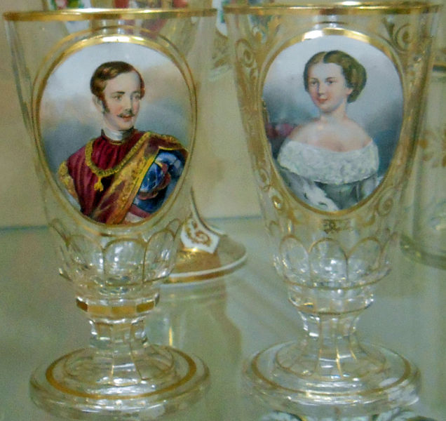 Bohemian Glass with Portraits of Emperor Franz Josef and Empress Sisi of Austria.