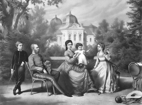 Sissi, Franz Joseph and their children GIsela, Rudolf and Marie Valerie at the Goddolo Palace in Hungary