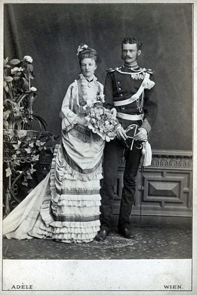Duke Maximilian in Bavaria, youngest brother of Sisi Empress of Austria with his wife Princess Amalie of Saxe-Coburg-Gotha