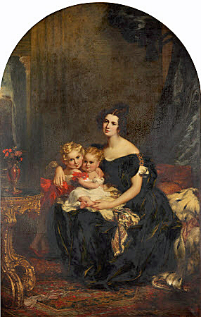 Oil painting on canvas, Elizabeth Acton, Lady Throckmorton (d.1850) with Two of her Children, Courtenay Throckmorton (1831-1854) and Mary Elizabeth Throckmorton (1832-1919) by John Partridge (Glasgow 1790 - London 1872), circa 1833. She is seated to left, full-length, wearing a dark green dress, holding her youngest child on her lap, who is embraced by the elder boy (?) who is standing beside her in an apartment with arched top. Mary was the governess of Sisi, Empress of Austria's daughter Marie Valerie