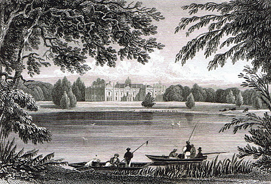 Combermere Abbey in 1829. The wing where Empress Sisi of Austria stayed has since been knocked down.